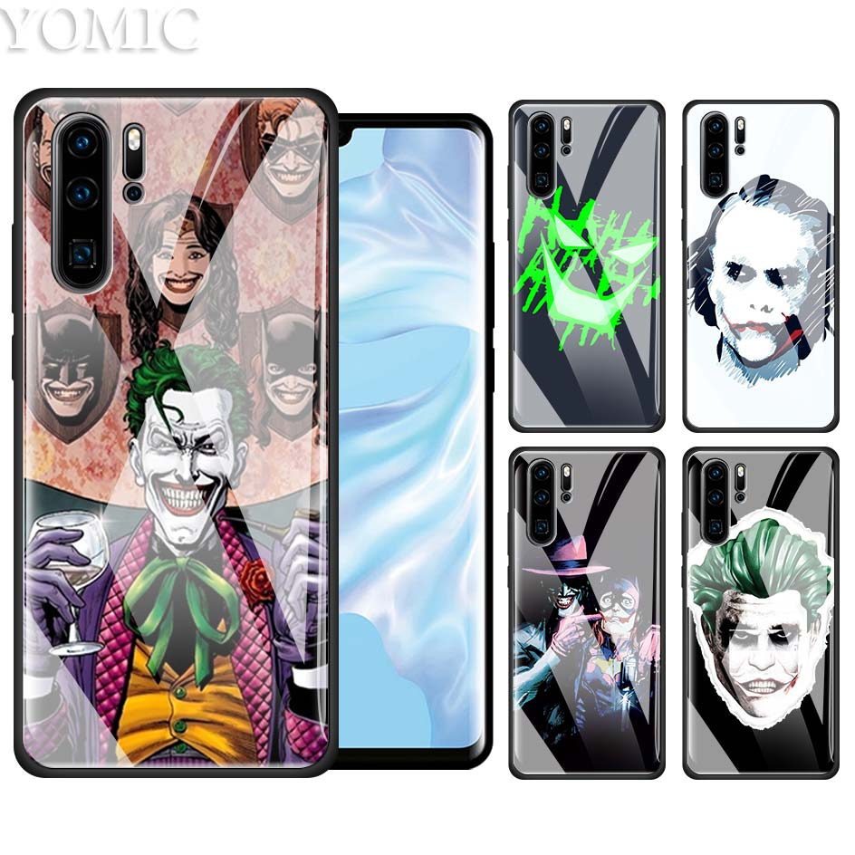Tempered Glass Case for Huawei P20 P30 P10 Mate 10 20 Lite Pro Honor 8X 20Pro Housing Phone Coque Cover Batman Dark Knight Joker