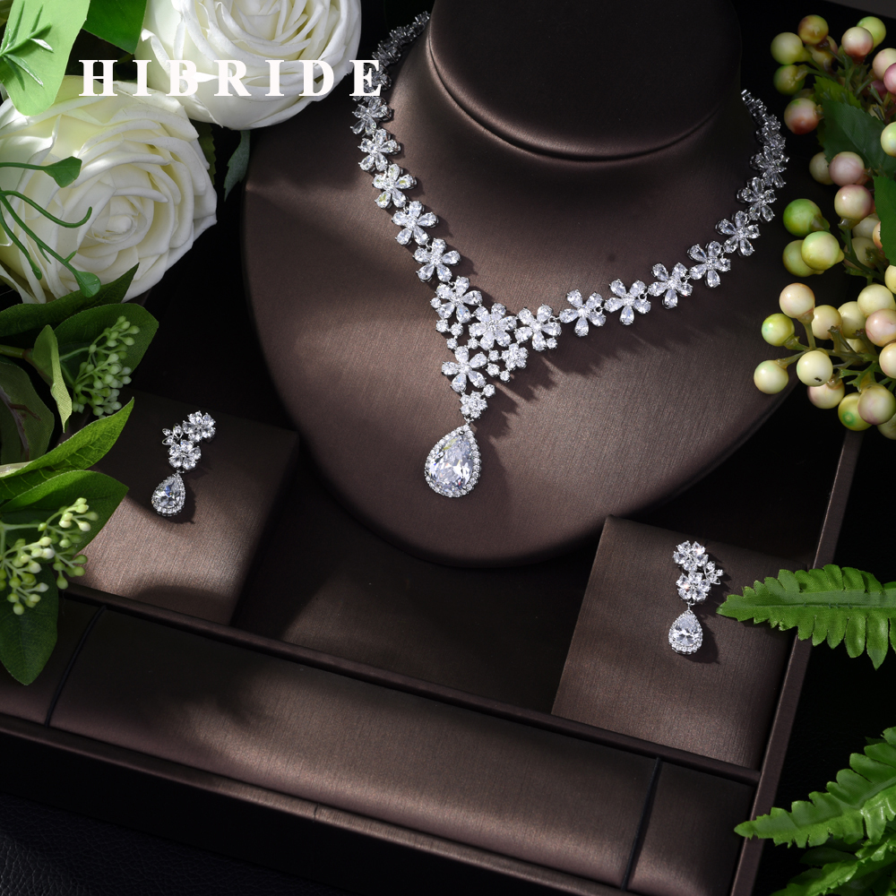 HIBRIDE Bijoux Femme Ensemble Wedding Jewelry Sets for Women Sparkling AAA Zircon 2pcs Fashion Bridesmaid Jewelry
