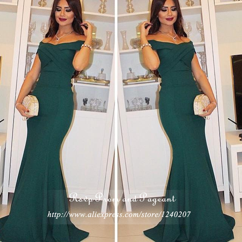 Emerald Green Long Elegant Prom Dress V neck Cap Sleeve Stretch Satin Cheap Floor Length Mermaid