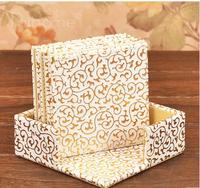 4 ''vierkante PU leateher koffie thee cup pad cup mat coaster koken gereedschap placemat goud over wit 312
