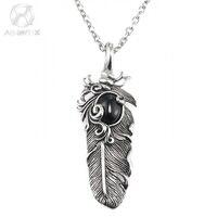 LES BIJOUX AgentX Punk Men Gents Stainless Steel Wing Pattern Craft Chain Romantic Necklace Pendant Jewelry