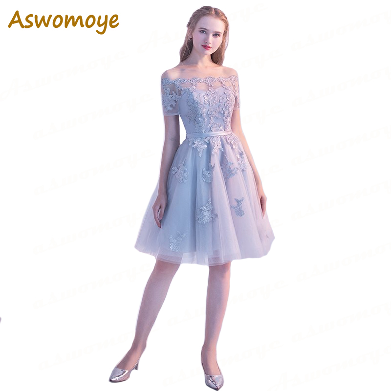 Hot Sale  Aswomoye Short Evening Dress 2018 New Arrival Illusion ... 6e8781cf85cc