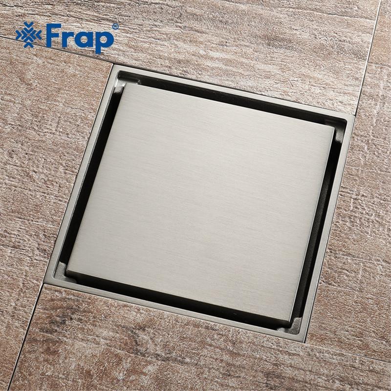 все цены на Frap Tile Insert Square Floor Drain Bathroom Invisible 10cm*10cm Brushed Modern Design Deodorizing Bathroom Floor Drain Y38107
