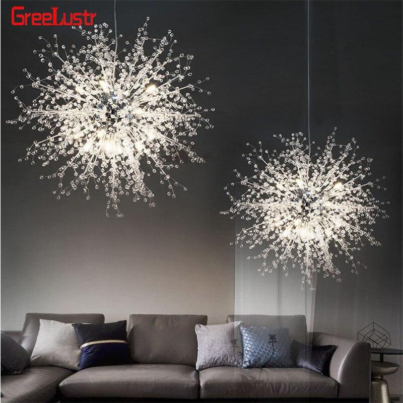 Design especial dandelion pingente pendurado lâmpada de acrílico ouro prata loft led g4 lustre para sala estar em casa iluminação lustre