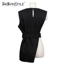 [TWOTWINSTYLE] 2017 Spring New Korean Irregular Brief Long Vest Women Outwear Streetwear Clothing