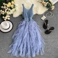 2019 new fashion women's dresses France strap dress knit round neck sleeveless slimming irregular mesh