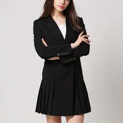 Модные Блейзер Для женщин костюм Тонкий с длинным рукавом Плиссированные спецодежды блейзер Feminino элегантный плюс Размеры дамы Блейзер Q790