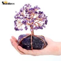 Sunligoo Natural Amethyst Tumbled Stones Money Tree Feng Shui Wealth Ornament Tree of Life Healing Crystals Reiki Office Living