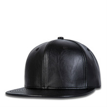 Solid Color Black Hip Hop Cap PU Leather Hat Fashion Cap Men Snapback Drop Shipping fashion solid black pu leather snapbacks for men women spring warm leather hip hop snapback baseball cap women s hat casquette