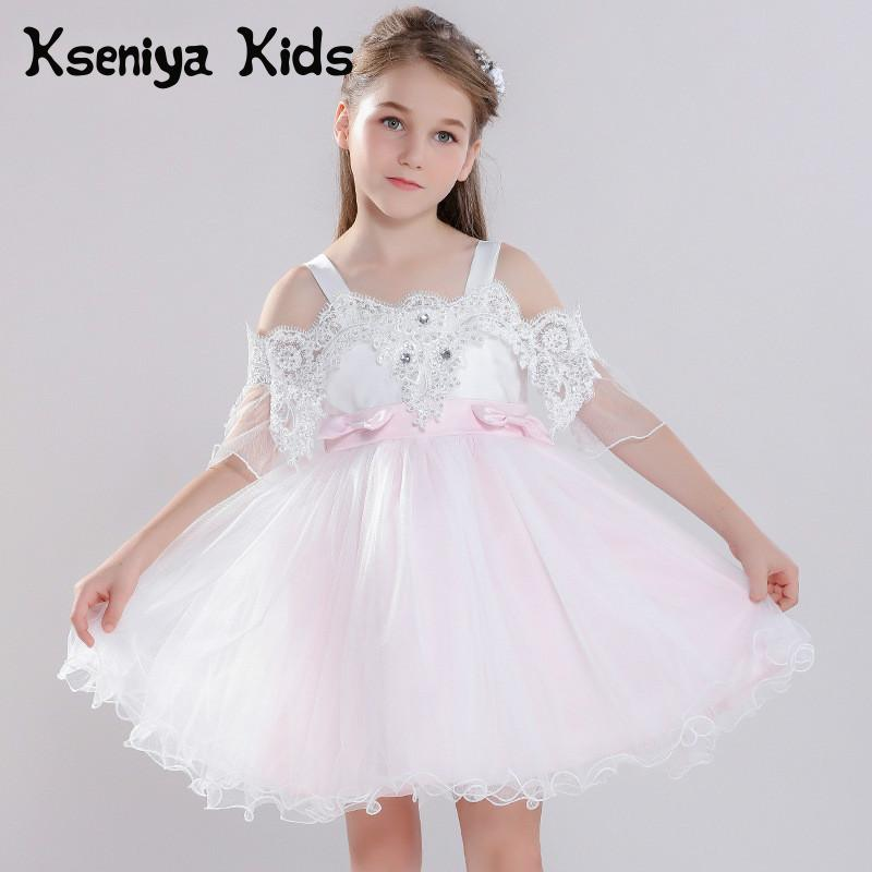 Kseniya Kids Summer New Sweet Children's Lace Princess Shoulderless Sleeveless Big Girl Dress Girls Dresses Kids Dresses Girls kseniya kids 2018 spring summer new children s clothing lace princess mesh lace sleeveless girls dresses for party and wedding