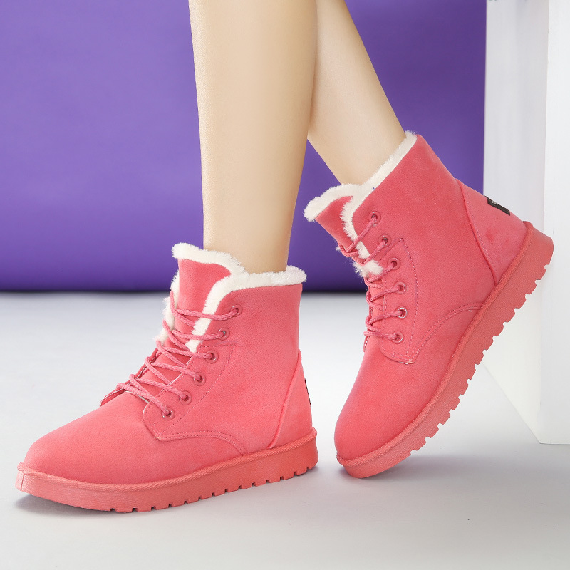 Autumn Winter Boots Women 2017 Snow Boots Fashion Flats Lace Up Boots Warm Plush Ankle Boots No-Slip Rubber Women's Shoes Brown new 2017 fashion female warm ankle boots lace women boots snow boots and autumn winter women shoes