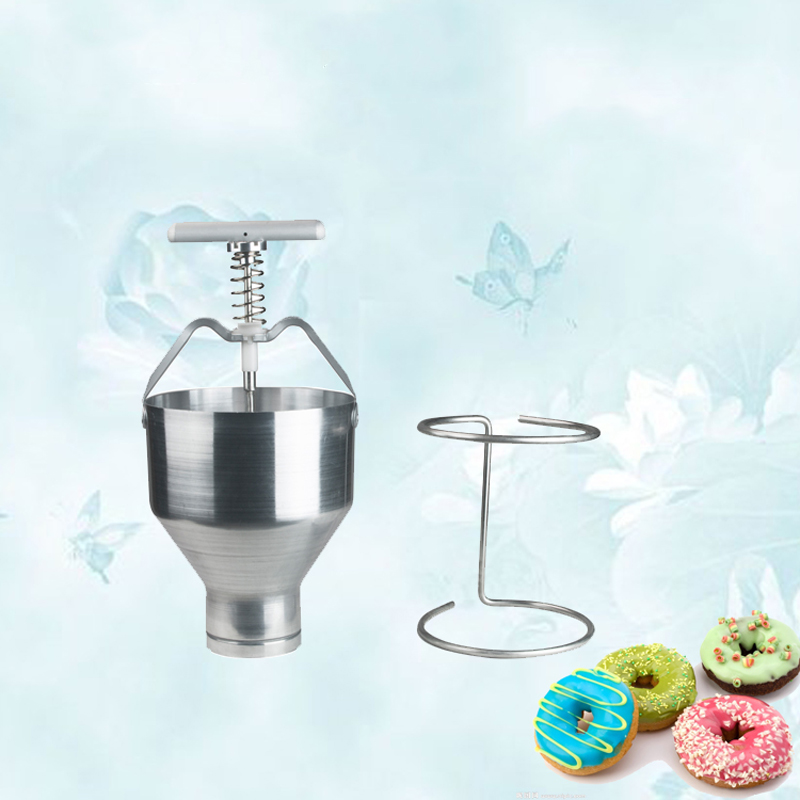 цена на Stainless steel Mini Manual Donut Maker Machine Cake Donut Hopper with Stand Commercial household donut molding machine