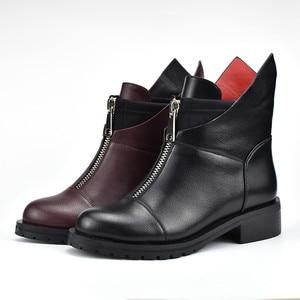 Image 4 - MORAZORA 2020 جديد ريستور النساء الأحذية جولة تو الخريف الشتاء الأحذية مربع الكعب فستان أحذية الأحذية سستة حذاء من الجلد
