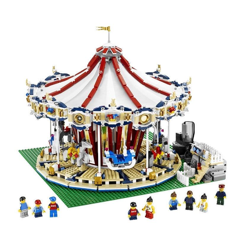 3263Pcs Diy City Sreet Carousel Compatible legoing 10196 Building Blocks Bricks Kits Toy for Children playmobil Model education