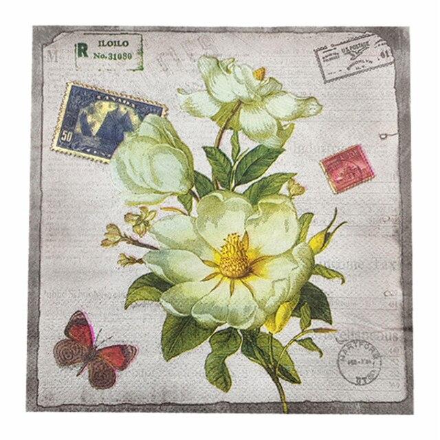 20 Vintage Serviette Papier Lila Weisse Blume Vogel Schmetterling