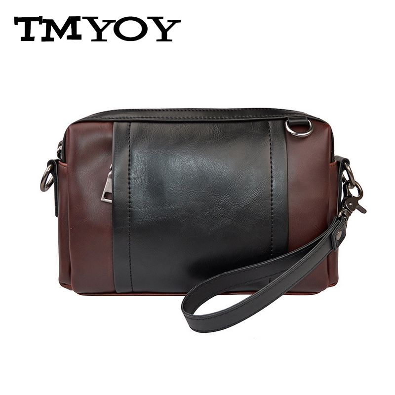 TMYOY Men's Bag Male Small Messenger Crossbody Bags Business Casual Travel Men Clutch Bag Pu Leather Patchwork Wristlet VK307
