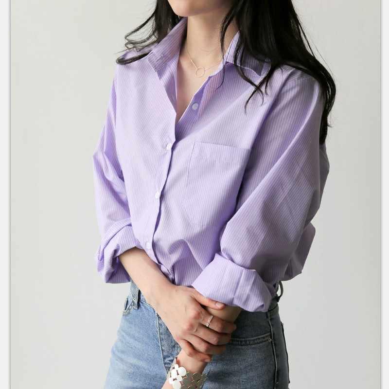 S-XL Plus Size Solid paars Vrouwen Shirt Lange Mouw Turn down kraag Casual Top 2018 Nieuwe Zomer OL Kantoor Werk blouse