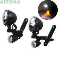 Motorrad Scheinwerfer Nebel Lampe LED Beleuchtung Halterung w/Paar Blinker Anzeige Kit Für Harley Electra Glide Road King 97-später