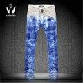 Мужской цветной рисунок змеиной печати джинсы тонкие брюки личности цветы плюс размер брюки человек сделано в китае джинсы брюки мужские