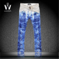 Male colored drawing snakeskin print jeans slim pants personality flowers plus size pants man made in china jeans trousers mens