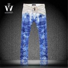 Мужчины цветной рисунок змеиной печать джинсы тонкий брюки личности цветы Большой размер брюки человека сделано в китае джинсы мужские