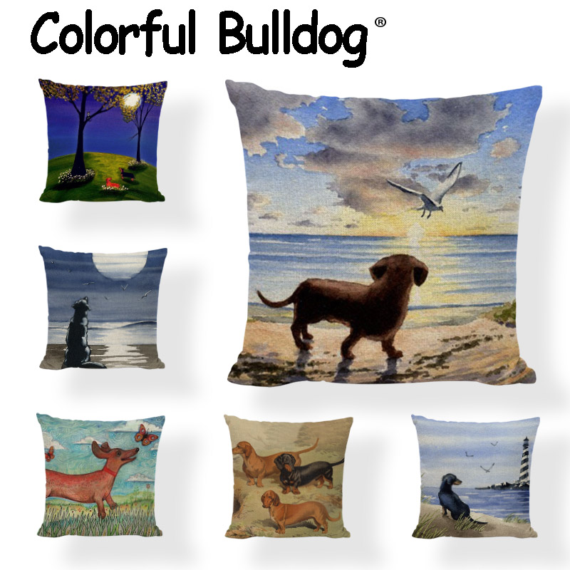 New Design Dachshund Cushion Covers Cute Animal Seagull Butterfly Painted Home Decor Liv ...