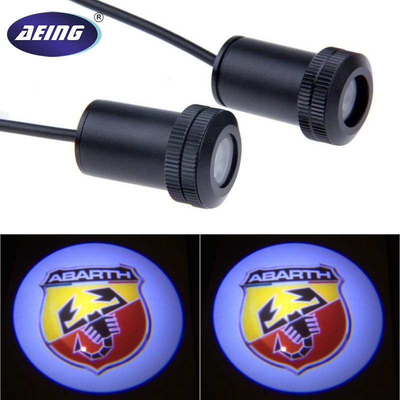 AEING 2pcs Ghost Shadow Logo welcome Car LED Door Light Laser Courtesy Slide Projector logo Emblem light For ABARTH цена