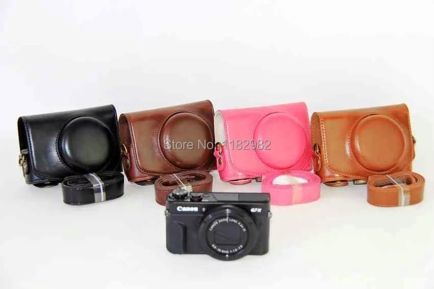Leather Camera Bag Case Cover For Canon  G7XII G7X II G7X Mark II with Shoulder strap canon g7x купить в туле
