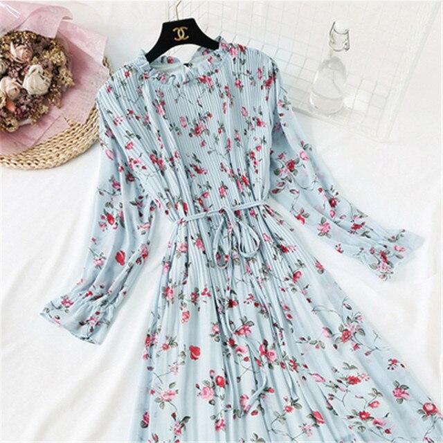2020 Spring Summer New Hot Women Print Pleated Chiffon Dress  Fashion Female Casual Flare Sleeve Lotus leaf neck Basic Dresses86 6