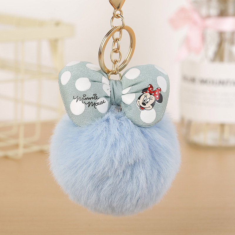 Cute Fashion Mickey Bowknot With Rabbit Fur Ball Keychain Kids Plush Dolls Soft Fluffy Charm Baby For Girls Women Gift
