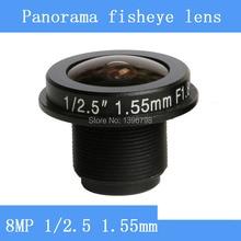 CCTV lenses 8MP 1/2.5 HD 1.55mm fisheye panoramic surveillance camera 185 degrees wide-angle infrared lens M12 lens thread