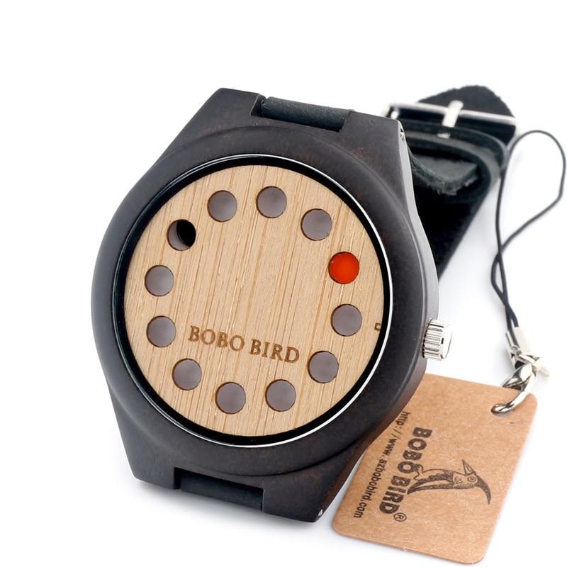 Prix pour Bobo bird nouveau design 12 ensembles en cuir bande casual unique en bois quartz montre sans deuxième main dans une boîte cadeau