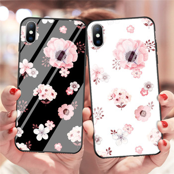 Luxury Tempered Glass Case For iPhone Rose Cherry Flower Protective Back Cover