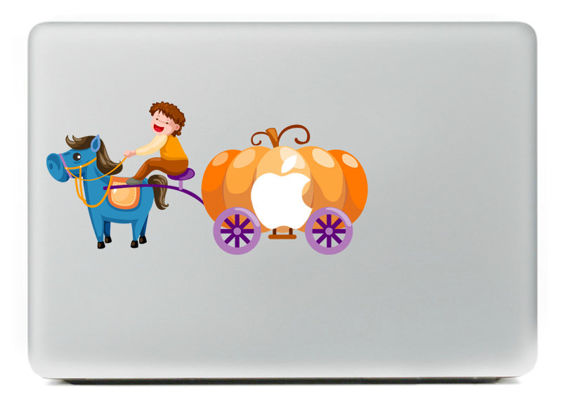 Little boy driving pumpkin dream car Vinyl Decal for DIY Macbook Pro 13 15 inch and Air 11 13 inch Decal Skin Laptop Sticker