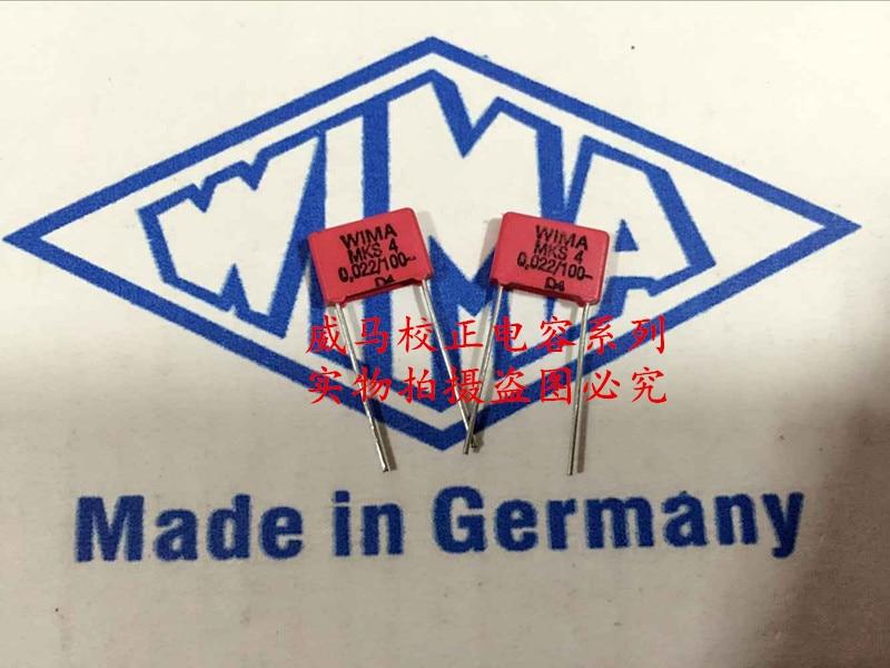 2019 Hot Sale 10pcs/20pcs German Capacitor WIMA MKS4 100V 0.022UF 100V 223 22NF P: 7.5mm Audio Capacitor Free Shipping