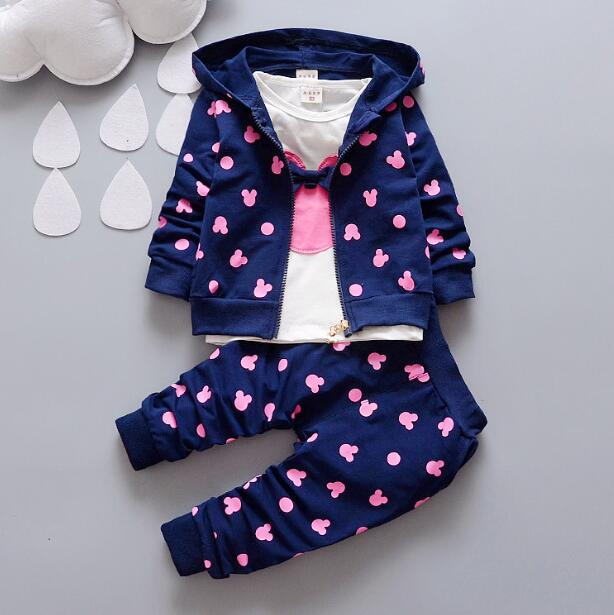 Hot Sale 2016 Autumn Baby Girls Minnie Suits Children Clothes Sets Hooded Coats+T Shirt+Pants Kids Casual Suits Infant Suits