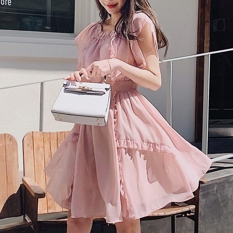 Dabuwawa femmes élégant rose en mousseline de soie robe 2019 nouveau été romantique à volants balançoire ourlet courte Date robe D18BDR135