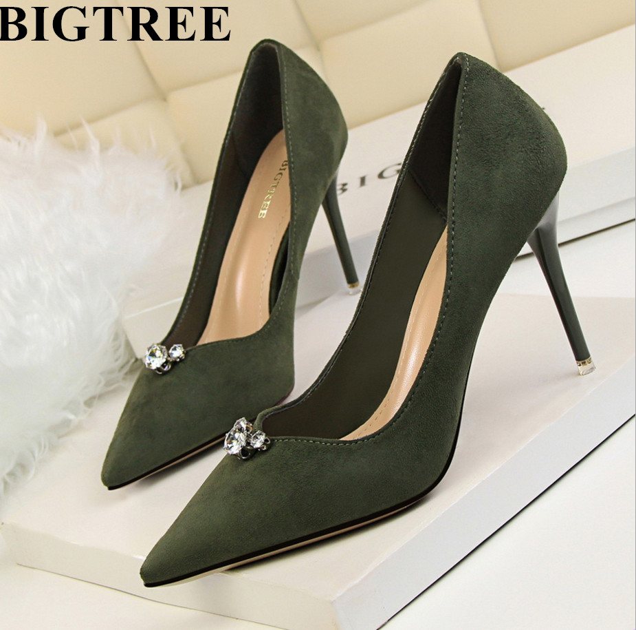 Hot Sale BIGTREE New Spring Summer Shoes Women Pumps Elegant Rhinestone High Heels Shoes Heeled Sexy Thin Pointed Toe Stiletto 2016 spring new fashion women hot sale nightclub sexy fine with platform high heeled shoes ol shoes baok 8e36