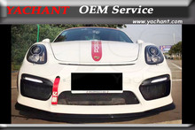 Front Money FRP Fiber Glass Front Bar w/ Carbon Fiber Front Lip Fit For 14-16 Cayman Boxster 981 GT4 Style Front Bumper with Lip
