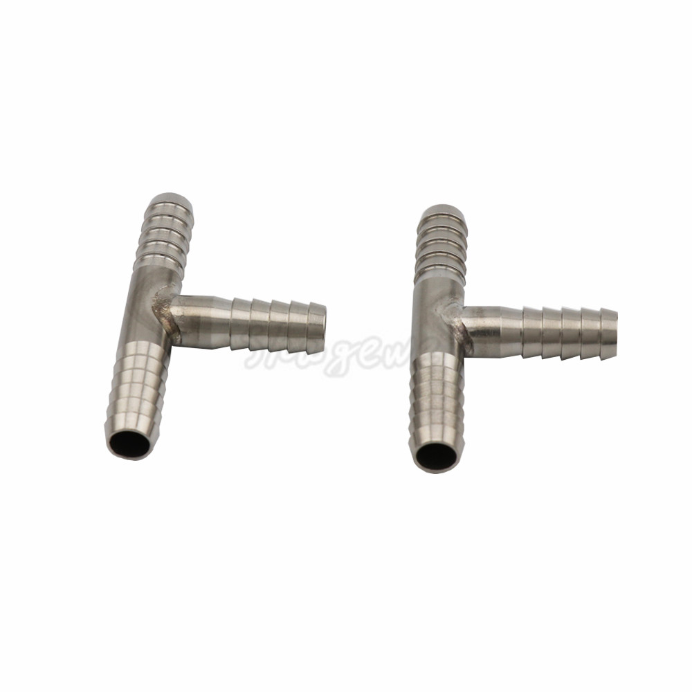 2pcs Lot Hose Splicer Type Stainless steel T Shaped Hose Barbed Fitting 3 Way beer hose Connector for 8mm Beer Line Home Brewing in Other Bar Accessories from Home Garden