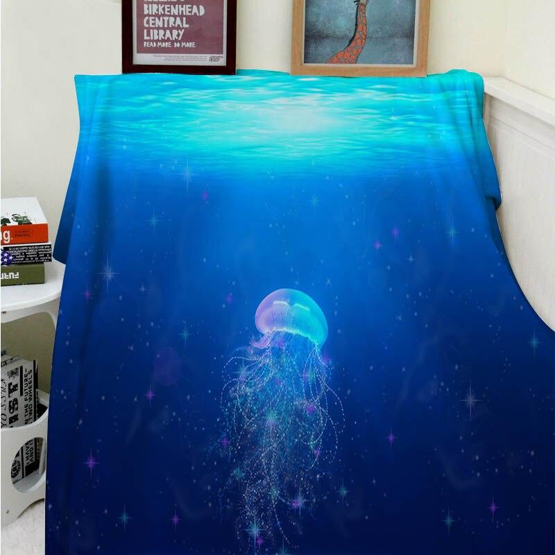 Blankets Cobertor a Soft Plush Beautiful Blue Ocean Cute Jellyfish Sofa Bed Throw Cobertor Kids Adults Blanket Thick Thin