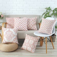 Pillow Cover Grey Pink Geometric Cotton Suqare Pillow Cover 45x45cm