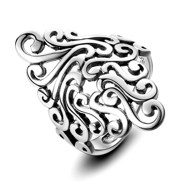 925 Sterling Silver  Hollow Geometric Rings 1