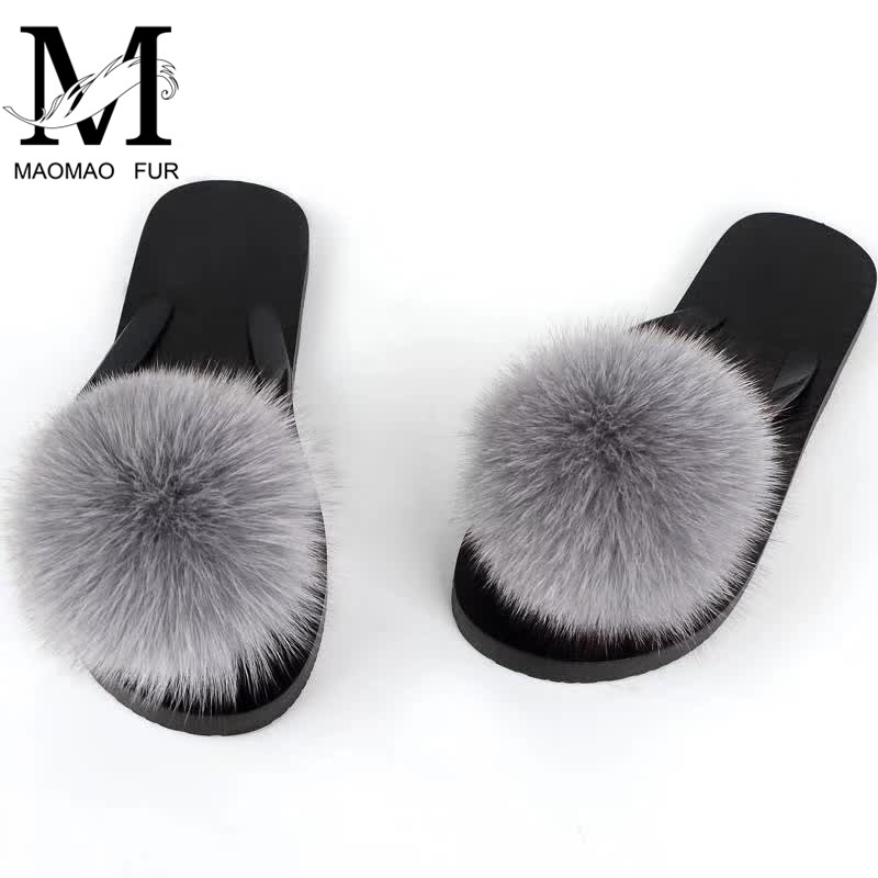 8547f47695fe Detail Feedback Questions about Women Fox Fur Pom Pom Slippers Summer Non  Slip Sandals Female Slippers Platform Flip Flops Slippers Beach Sandals on  ...