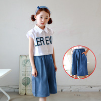 Korean Children Clothing 4 14Y Girls Pants Jeans Blue Wide Leg Pants Fashion Kids Girls Summer