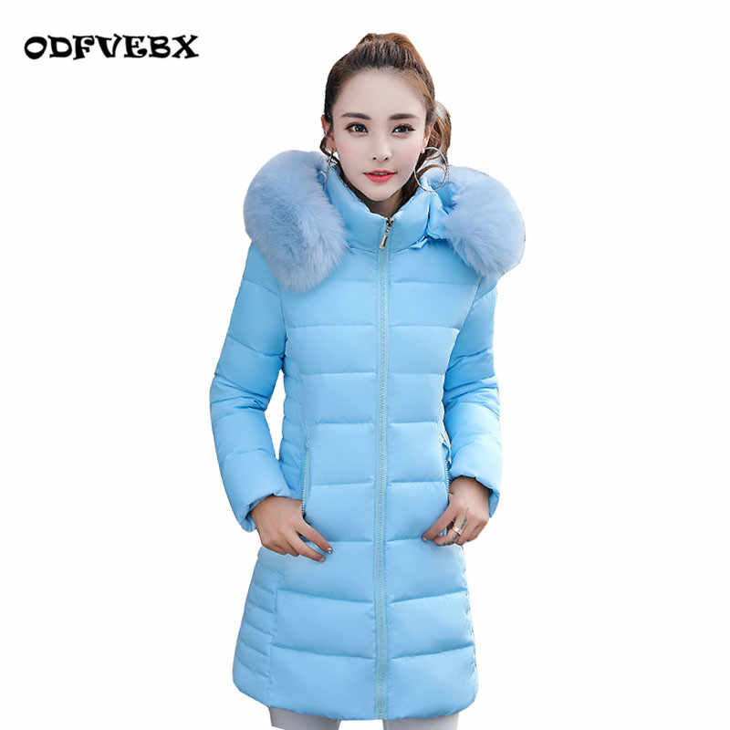 Winter boutique women down cotton jacket medium long new hooded fur collar thickened jacket coat female Slim large jacket wave