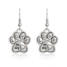 Animal Love My Dog Earring dog cat Print Charm Pet Jewelry Dog Lover Gifts For Women Girl dog footprint Heart shape for Girl(China)