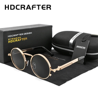 HDCRAFTER Luxury Steampunk Sunglasses Men Round Gold Frame Eyewear Metal Gothic Style Shades UV400 Sun Glasses