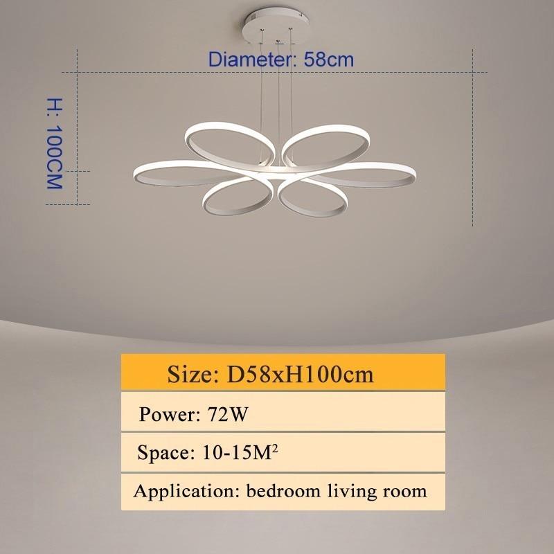 Modern led chandelier lighting for living room bedroom dining room indoor home lustre chandelier lamp AC90v-260v lampadario - Цвет абажура: D58xH10CM 72W