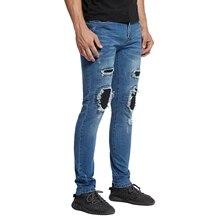 2017 männer Dünne Konische Knie Leder Biker Jeans Mode Lässig Hip Hop Stretch Jeans E5022
